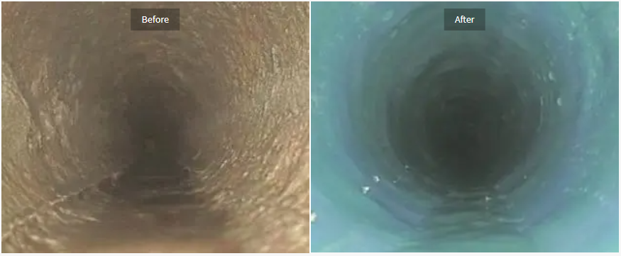before and after pipe